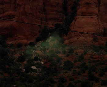 bell rock with green mist